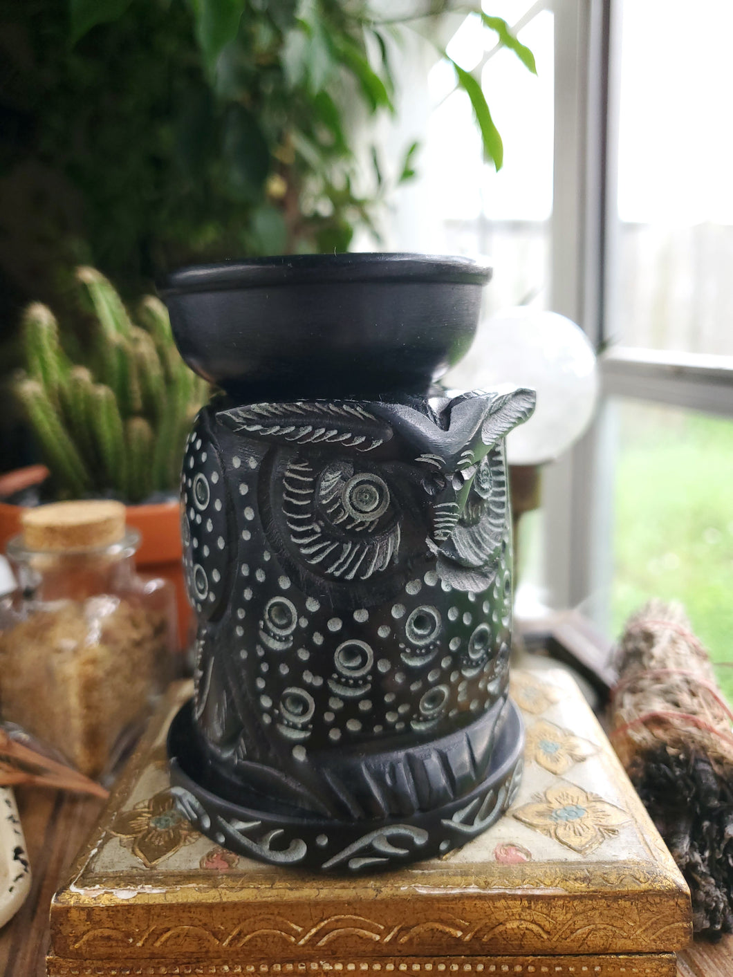 Hand Carved Soapstone Owl Wax Burner