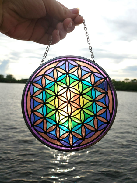 Rainbow Flower Of Life Sun Catcher
