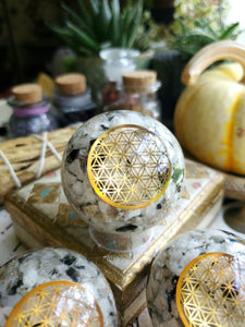 Flower of Life Moonstone Orgone Sphere