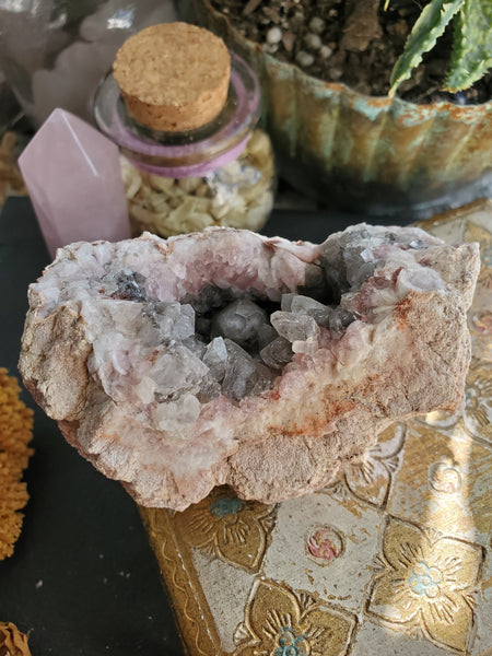 Pink Amethyst and Dogtooth Calcite Geode