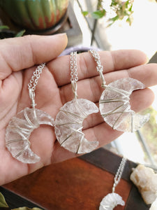 Clear Quartz Crescent Moon Necklace