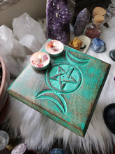 Load image into Gallery viewer, Wooden Triple Moon Pentacle Altar Table