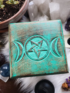 Wooden Triple Moon Pentacle Altar Table