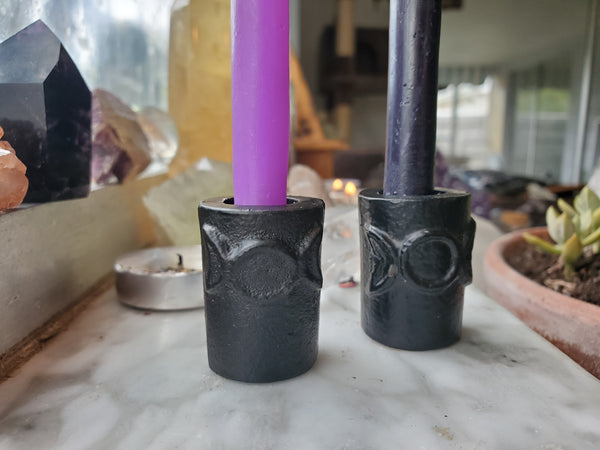 Triple Moon Goddess Chime Candle Holder