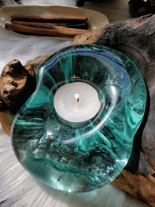 Handblown Glass & Gamal Root Candle Holder