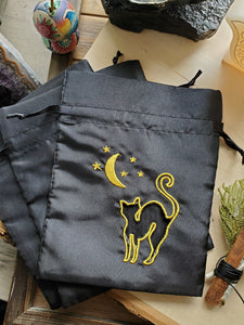 Black Cat Draw String Pouch