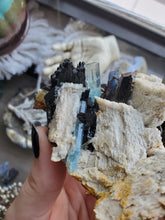 Load image into Gallery viewer, Froijite Black Tourmaline, Aquamarine & Feldspar Specimen