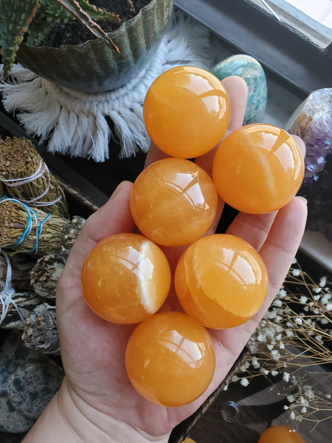 Orange Calcite Spheres - 42 mm