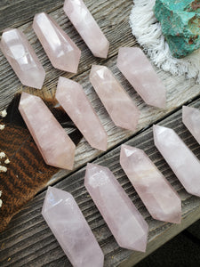 Double Terminated Rose Quartz Wands