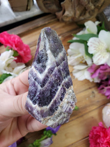 Raw Chevron Amethyst Point