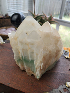Green Fluorite Included Cascading Quartz Cluster
