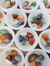 Load image into Gallery viewer, Selenite Bowl Seven Chakra Set