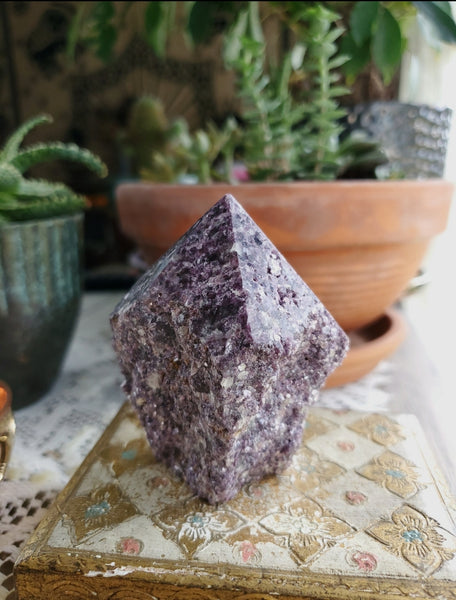 Semi Polished Lepidolite Tower