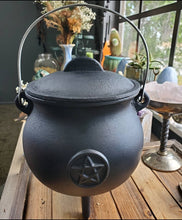 Load image into Gallery viewer, XL Cast Iron Pentacle Cauldron