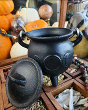 Load image into Gallery viewer, Cast Iron Triple Moon Goddess Cauldron