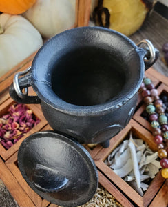 Cast Iron Triple Moon Goddess Cauldron