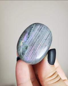 Purple Fire Labradorite Palm Stone