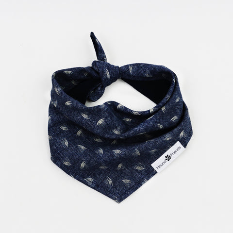 Image of Mochi Chambray Denim Reversible Dog Bandana matching with owner | Hound and Friends