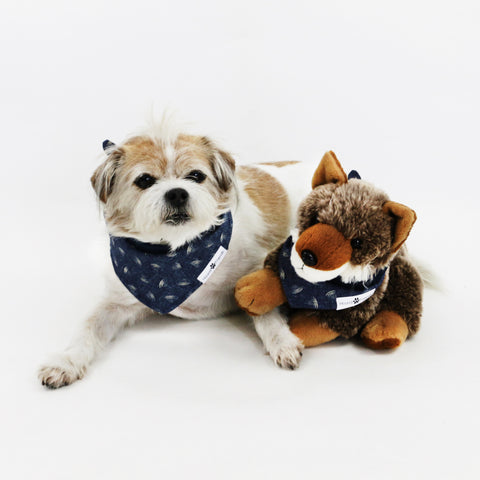 Mochi Chambray Denim Reversible Dog Bandana matching with owner | Hound and Friends