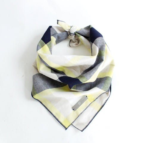 Image of Ro Reversible Tie-on Blue and Yellow Plaids Bandana for Matching Dog Bandanas and Accessories | Hound and Friends