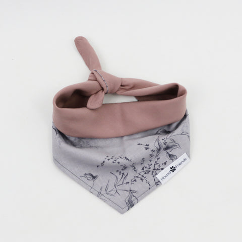 Teaka Pink and Purple Floral Reversible Dog Bandana matching with owner | Hound and Friends