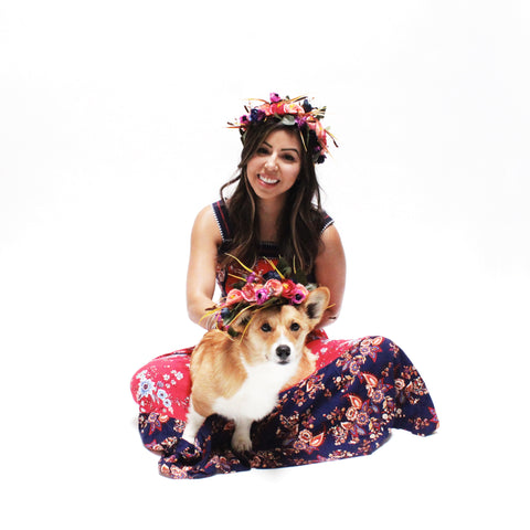 Image of Waffles Flower Floral Crown for dogs and their owners to matching at Hound and Friends