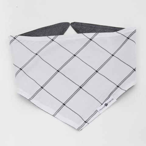 Image of Willie Reversible White and Silver Plaids Bandana for Matching Dog Bandanas and Accessories | Hound and Friends