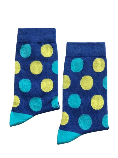 Dark blue with light blue & yellow spots - Medium-Individuals-[fundraiser]-Jolly Soles