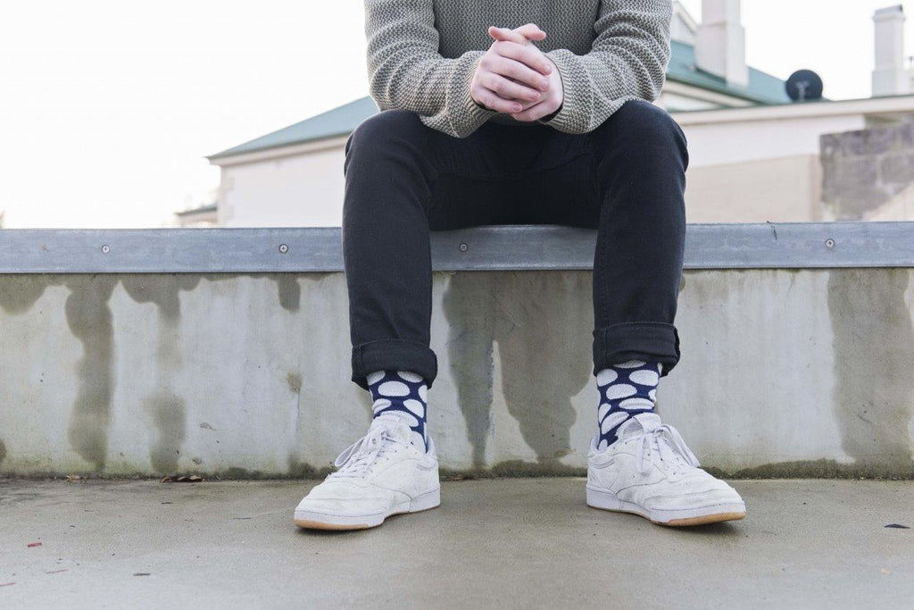 Blue and white dotted Large Jolly Soles Crew Socks