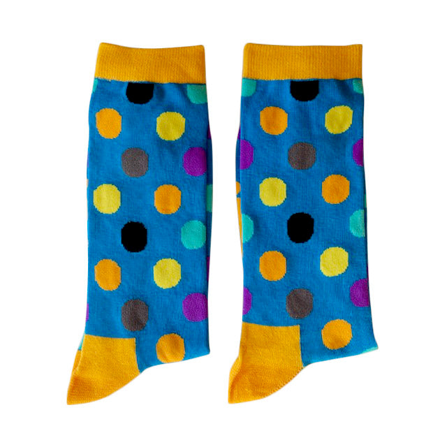 Blue with coloured dots - Extra Large-Individuals-[fundraiser]-Jolly Soles