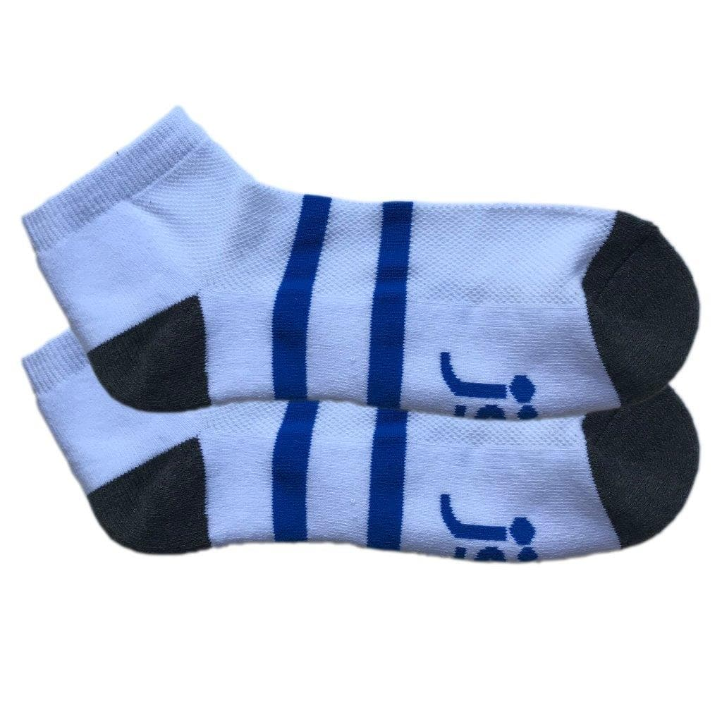 White with blue band Large Ankle Socks Jolly Soles