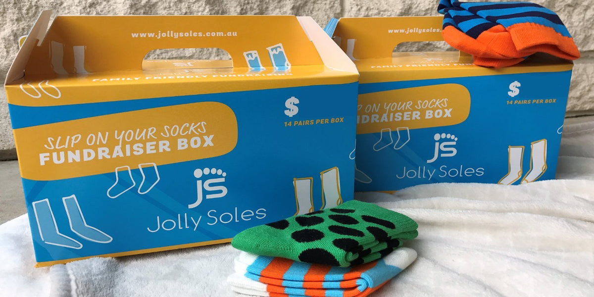 fundraising carry boxes of socks