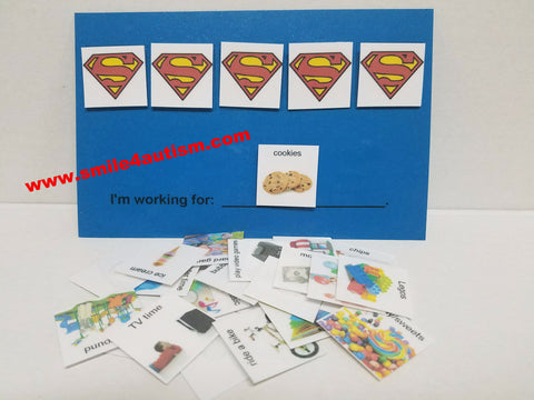 Token economy system w/ real images PECS card 4 children w/ Aspergers, autism, Apraxia