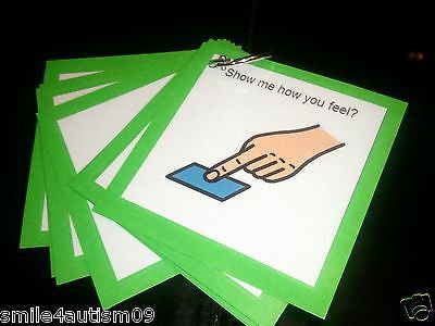 12 Green Emotions Pecs Cards Great for Autism, Asperger, Aprexia & Speech Delay