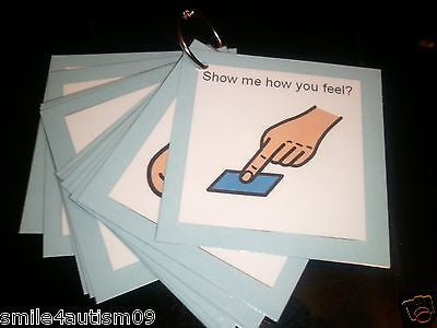 12 Blue Emotions Pecs Cards Great for Autism, Asperger, Aprexia & Speech Delay