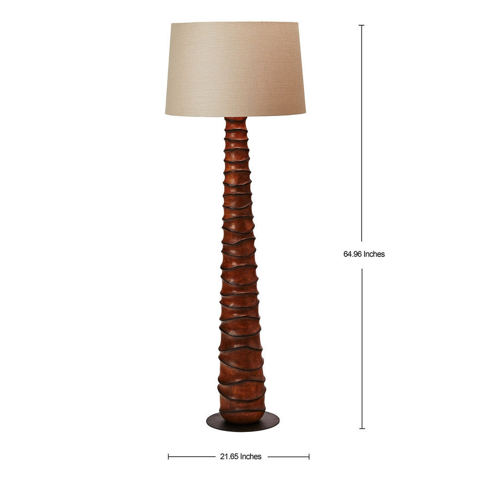 Brown Mango Wood Floor Lamp - O'THENTIQUE