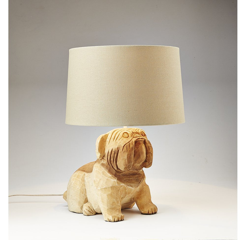 Carved Wooden Dog Lamp - O'THENTIQUE