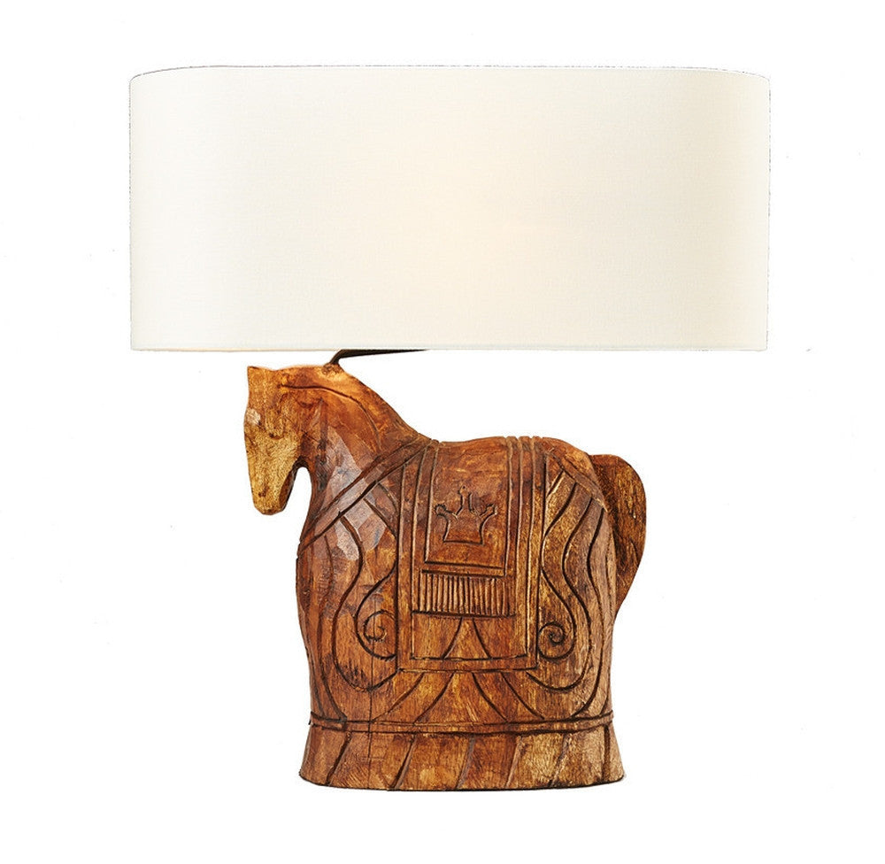 Carved Wooden Horse Lamp - O'THENTIQUE