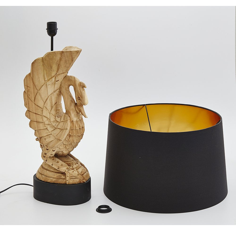 Carved Wooden Swan Lamp - O'THENTIQUE