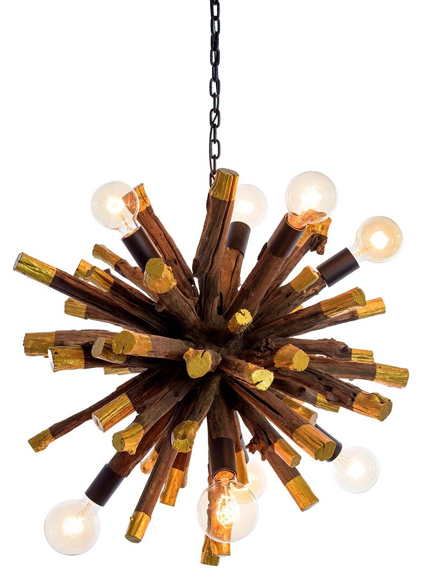 Driftwood Gold Dipped Branch Ball Chandelier - O'THENTIQUE