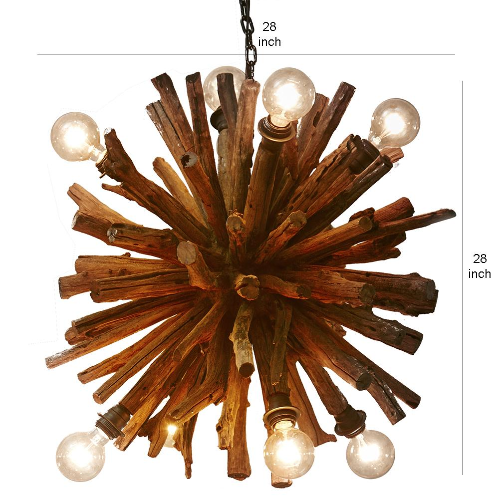 Large Driftwood Branch Ball Chandelier - O'THENTIQUE