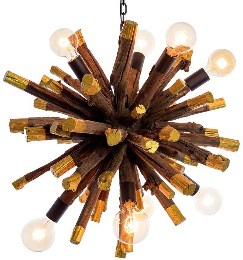 Large Driftwood Gold Dipped Branch Ball Chandelier - O'THENTIQUE