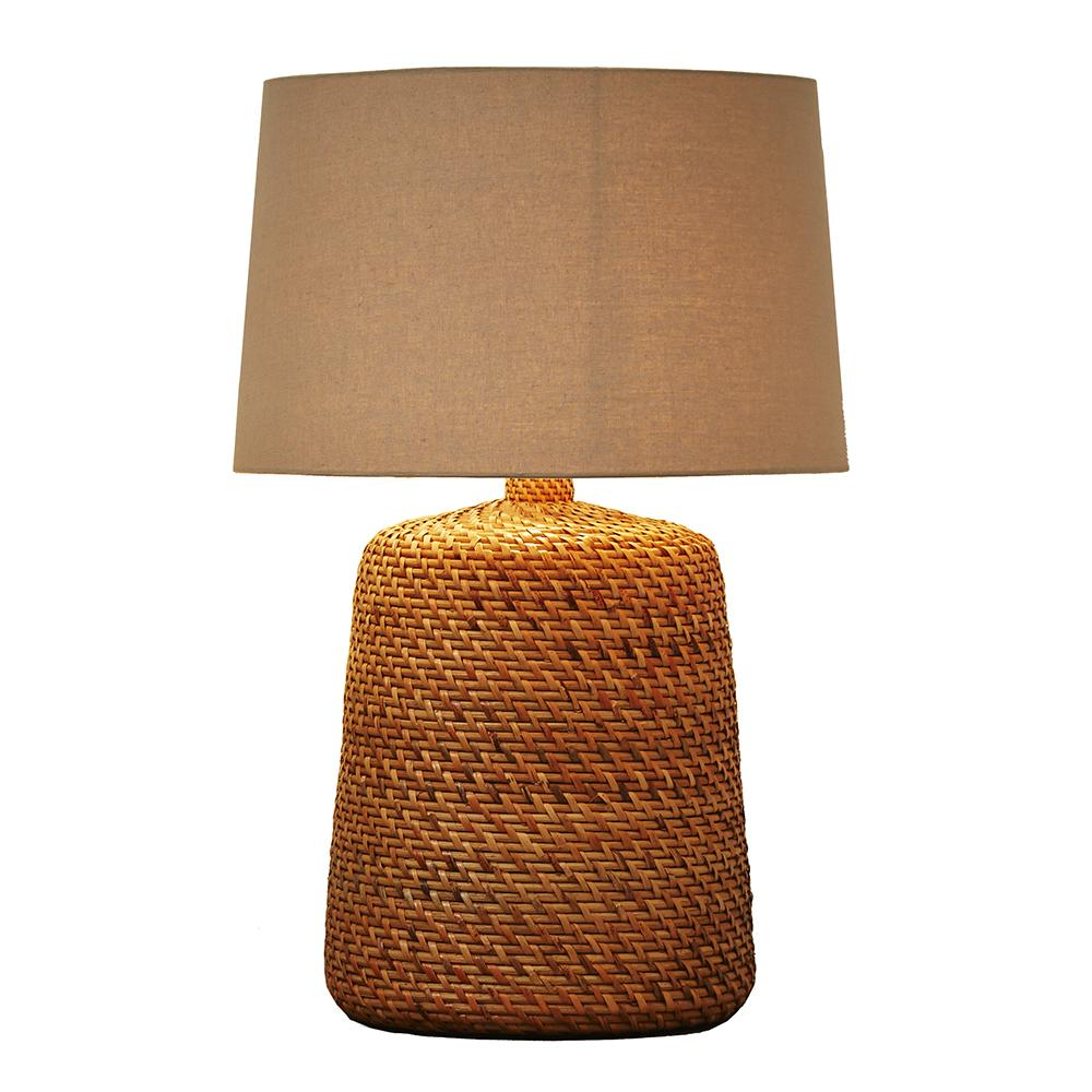 Large Natural Rattan Wicker Table Lamp - O'THENTIQUE