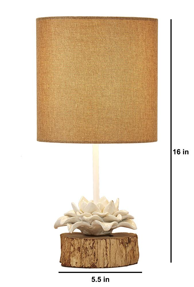 Lotus on Wood Stump Table Lamp with Burlap Shade - O'THENTIQUE
