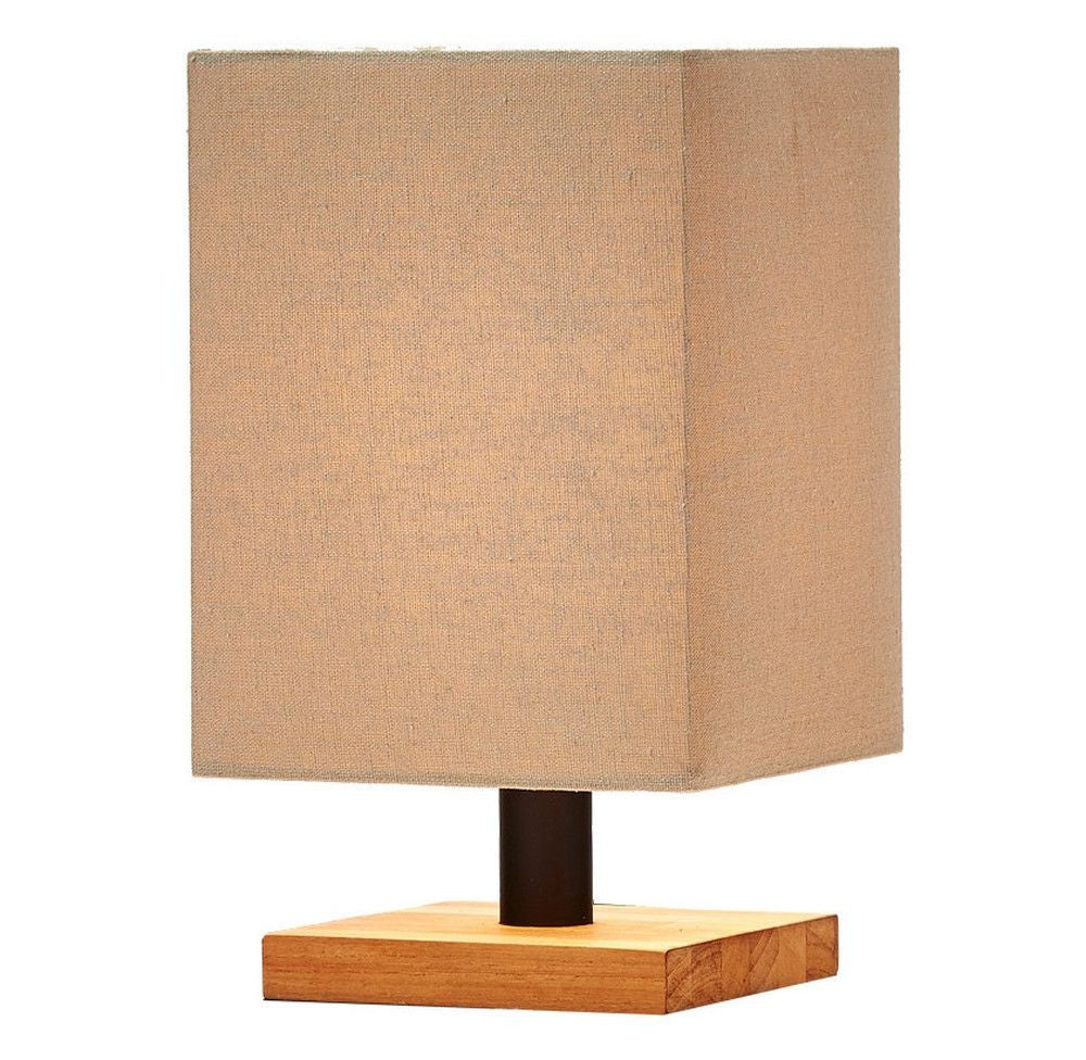 Minimalist Mini Teak Base Beige Lamp - O'THENTIQUE