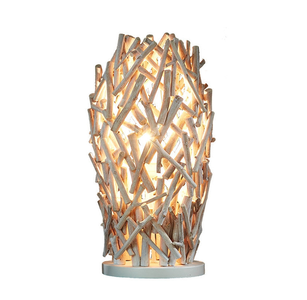 Wooden Ambience Whitewash Lamp - O'THENTIQUE