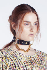 Golden Leather Choker
