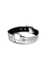 Metallic Silver Leather Choker [Unisex]