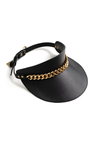 Mirkka Metsola Chain Leather Cap in Gold. Designed in Finland, Made in Estonia.