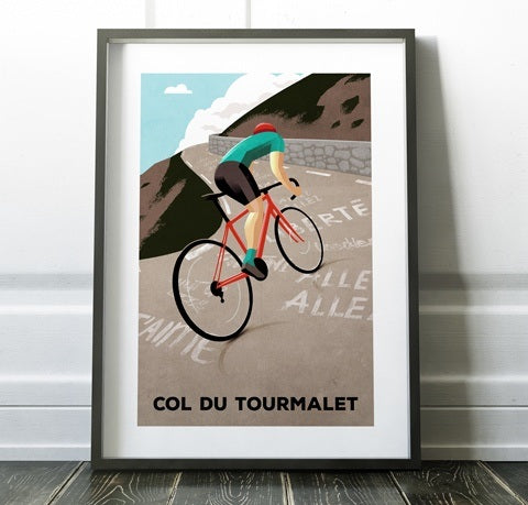 'Col Du Tourmalet' Cycling Print - Super Chez Bro